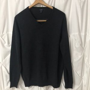 J. Crew Men's Dark Gray V Neck Merino Wool Sweater